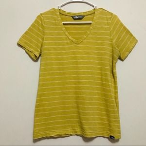 THE NORTH FACE Mustard Yellow Stripe V Neck